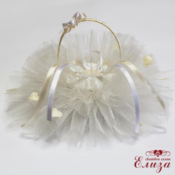 Сватбена кошничка за брачни халки  в екрю